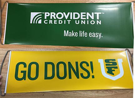 Retractable Hand Banners used to Cheer on SF Dons
