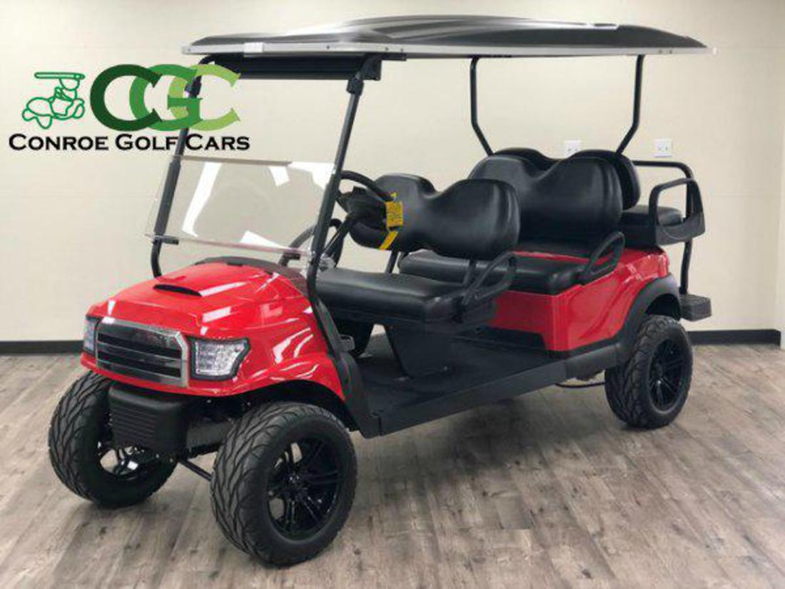 Conroe Golf Cars - custom lifted stretch golf cart on courtesy cart, stretch jaguar 2014, stretch money, black cart,