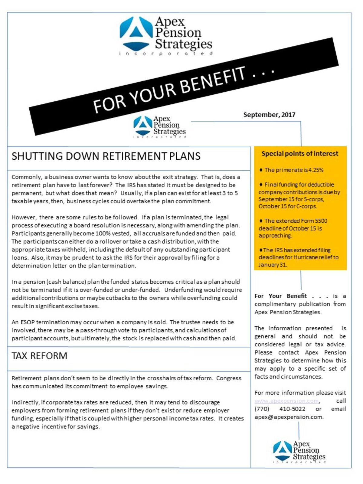 Shutting Down Retirement plans