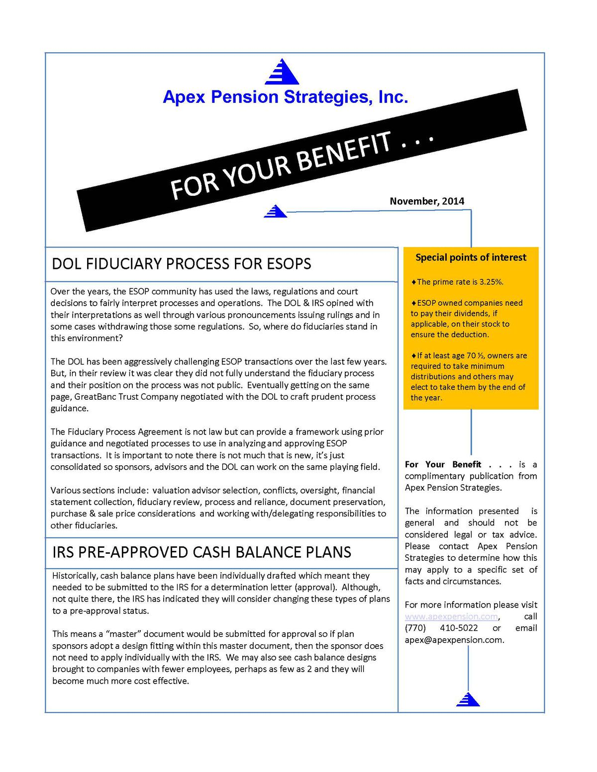 DOL Fiduciary Process for ESOPS