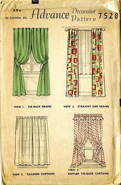 1940s Advance Decorator Pattern 7528 Vintage Sewing Drapes And Curtains Home Decor