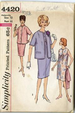 844e1460244da 1962 Simplicity #4420 Vintage Sewing Pattern, Misses' Classic Maternity  Dress and Jacket Size 12