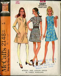 Vintage 1966 McCall/'s 8374 UNCUT Sewing Pattern Misses/' Dress in Four Versions Size 12 Bust 32