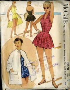 7ca35c2022 1952 McCall's #8870 Vintage Sewing Pattern, Misses' Old Hollywood Style Bathing  Suit or Play Suit & Beach Coat, Size 12