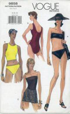 9e40790849 1998 Vogue Pattern #9858, Misses' Top, Brief, Swimsuit and Coverup, Bathing  Suit, Bikini Size 6-10