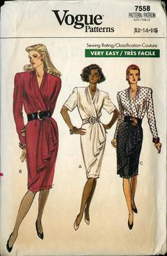 sewing pattern size 6-8-10 vintage vogue Vogue 7435 dress pattern 1989 retro very easy vogue