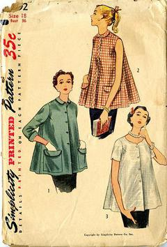 ed2cf7d1fc127 1953 Simplicity #4192 Vintage Sewing Pattern, Misses' Hip Length Maternity  Jacket, Blouse Plus Size 18