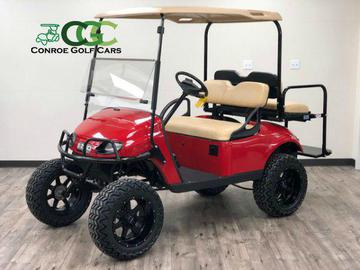EZGO PDS. EZGO Golf Cart, Flame Red EZGO, Lifted Golf Cart