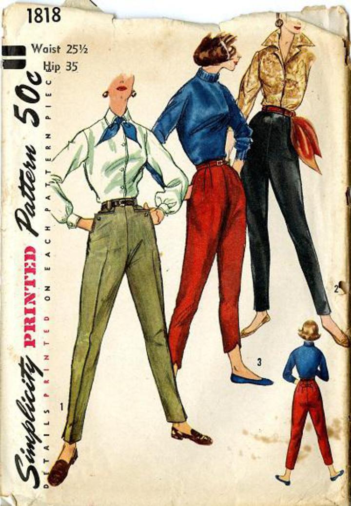 Vintage Pattern Warehouse, vintage sewing patterns, vintage fashion,  crafts, fashion - 1956 Simplicity #1818 Vintage Sewing Pattern, Junior  Misses' Pants in ...
