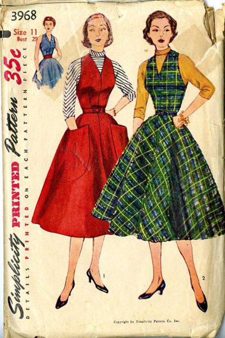 0ef54c10d9 Vintage Pattern Warehouse, vintage sewing patterns, vintage fashion,  crafts, fashion - 1951 Simplicity #3968 Vintage Sewing Pattern, Junior  Misses' Jumper, ...