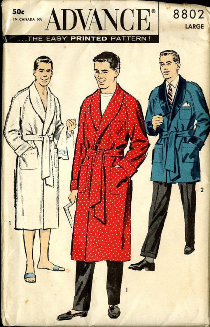 Vintage Pattern Warehouse Vintage Sewing Patterns Vintage Fashion Crafts Fashion 1958 Advance 8802 Vintage Sewing Pattern Men S Old Hollywood Style Robe Or Smoking Jacket Size 42 44