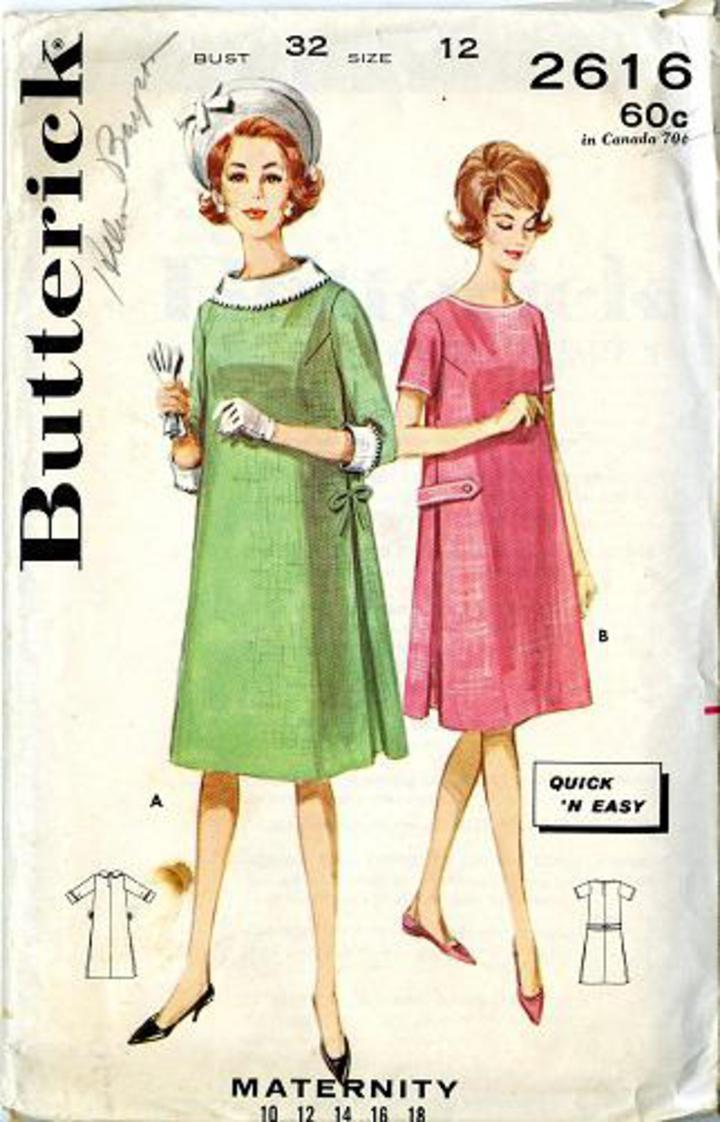 408be4f08 Vintage Pattern Warehouse, vintage sewing patterns, vintage fashion,  crafts, fashion - 1960's Butterick #2616 Misses' Classic Maternity Dress