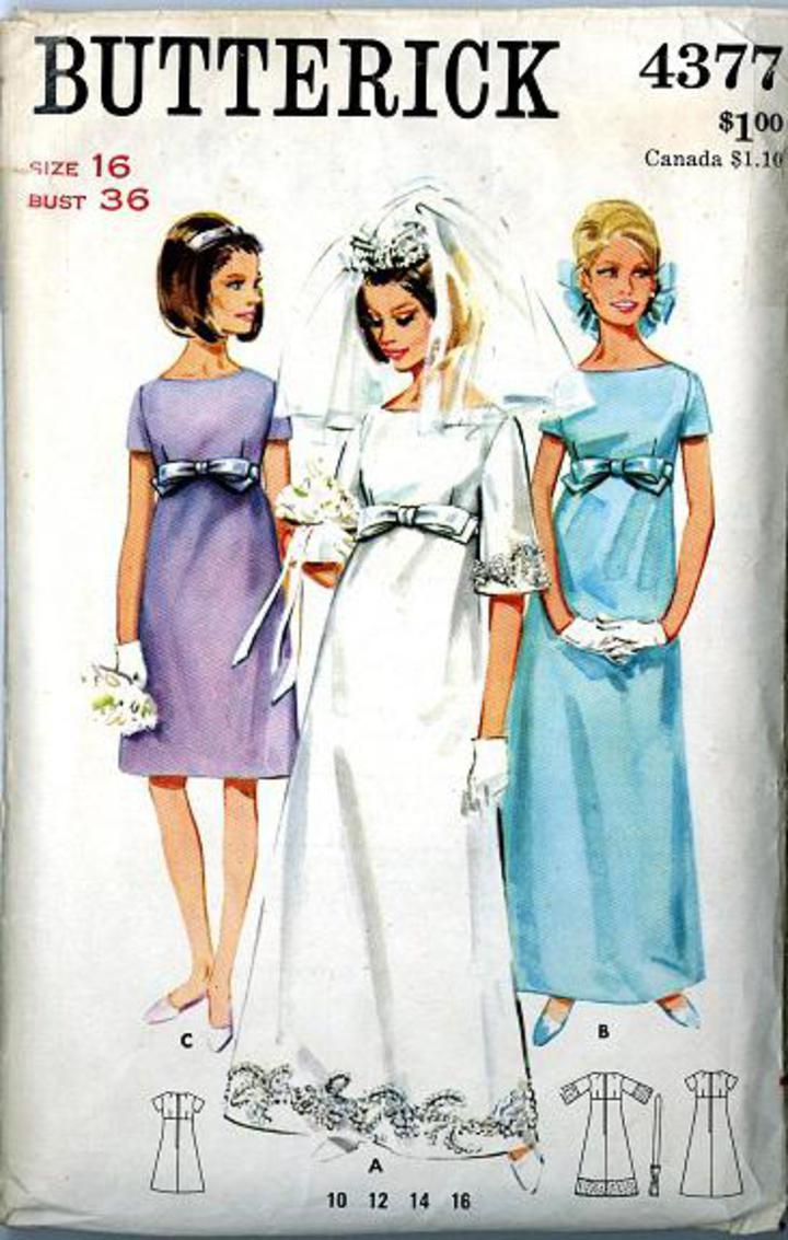 1960\'s Butterick #4377 Vintage Sewing Pattern, Misses\' Empire Waist Wedding  Gown in Full or Street Length, Bell Shaped Skirt Plus Size 16 (B004377)