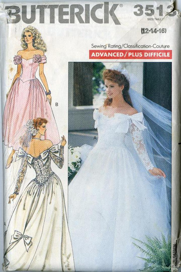 Vintage Pattern Warehouse Vintage Sewing Patterns Vintage Fashion Crafts Fashion 1989 Butterick 3513 Misses Wedding Gown Floor Or Tea Length,Mothers Bride Wedding Dresses