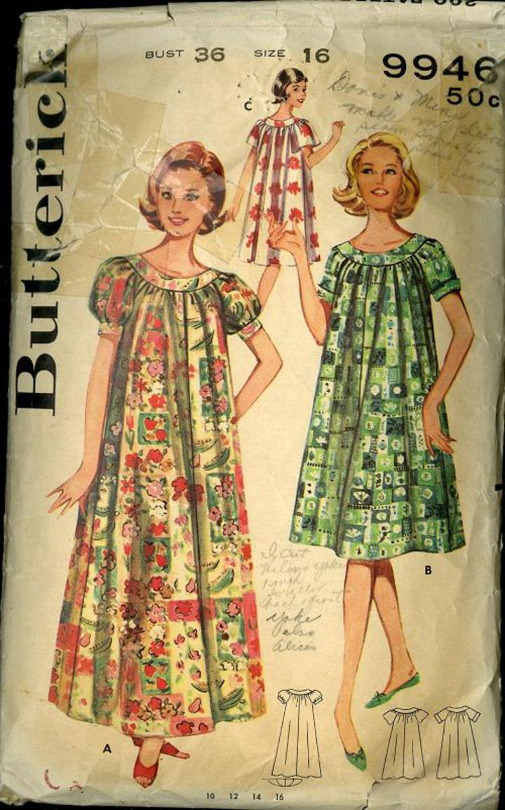Vintage Pattern Warehouse Vintage Sewing Patterns Vintage Fashion Crafts Fashion 1960 S Butterick 9946 Misses Muu Muu Day Dress Robe