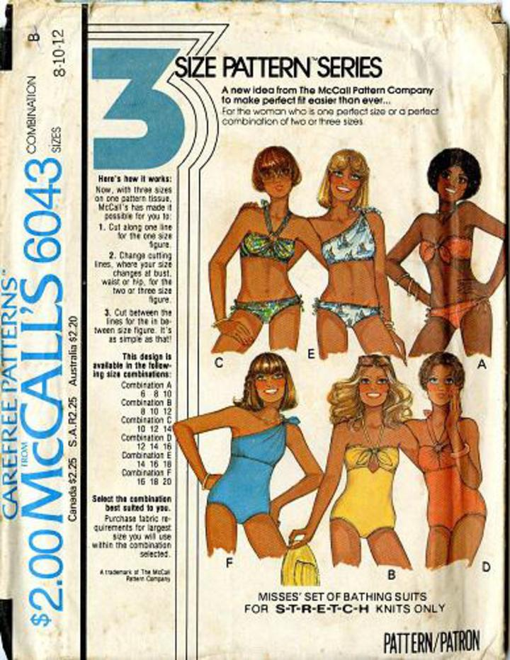 f5ff9f0b25f77 1978 McCall's #6043 Vintage Sewing Pattern, Misses' Set of Bathng Suits,  Swimwear and Bikinis Size 8-12