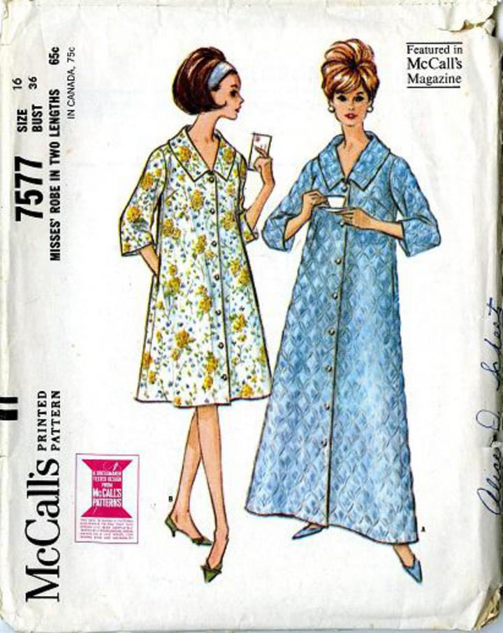 8601ec331a0f Vintage Pattern Warehouse, vintage sewing patterns, vintage fashion,  crafts, fashion - 1964 McCall's #7577 Misses' Robe in Two Lengths