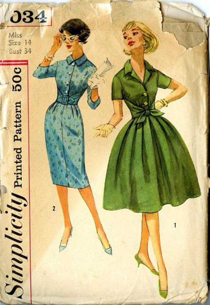 a7852daa54 Vintage Pattern Warehouse, vintage sewing patterns, vintage fashion,  crafts, fashion - 1959 Simplicity #3034 Misses' Shirtwaist Dress with Two  Skirts