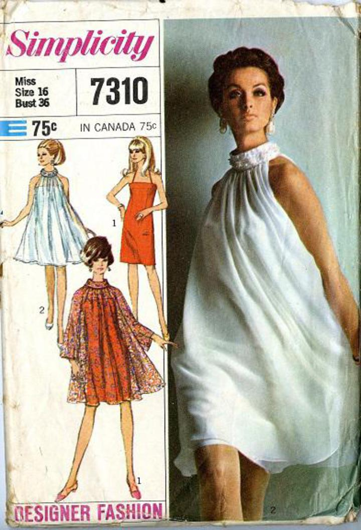 1967 Simplicity Designer Fashion #7310 Vintage Sewing Pattern, Misses\'  Overdress and Halter Slip-Dress Retro Bohemian Style, Plus Size 16