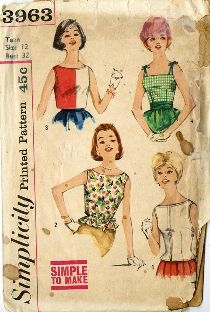 53782ee58d2ac5 1960's Simplicity #3963 Vintage Sewing Pattern, Junior Miss Set of  Sleeveless Blouses, Teen Size 12