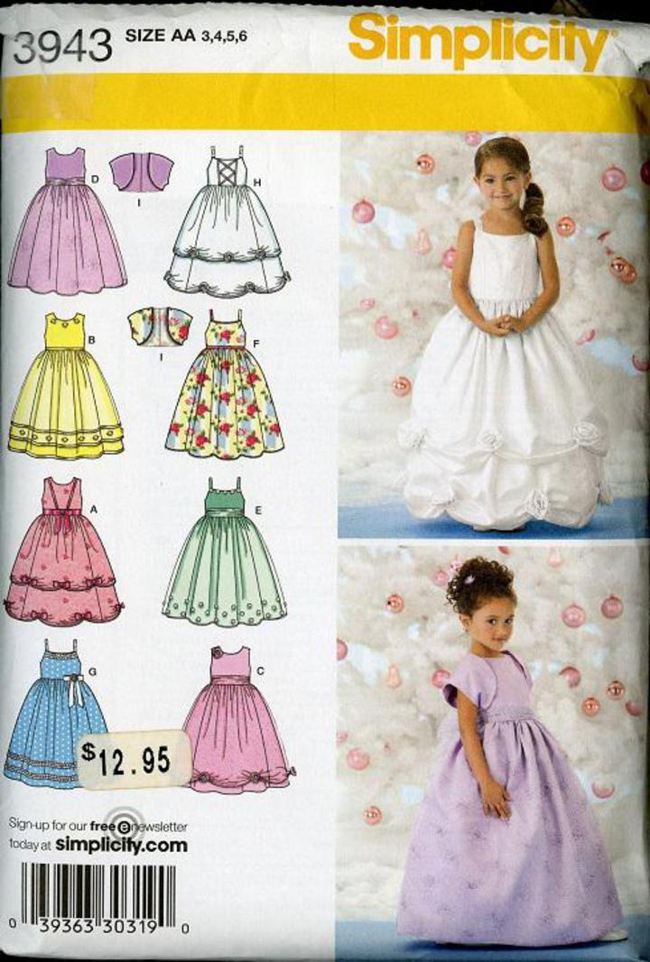 f6a0b7217a5 Simplicity #3943 Sewing Pattern, Girls' Special Occasion Dress and Bolero  Size 3-6