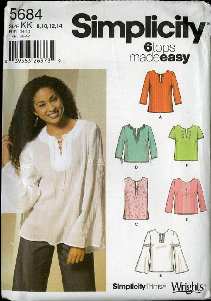 NEW SIMPLICITY SEW PATTERN 8455 MISS MISS PETITE TOP BLOUSE Sz 4-12 or 12-20