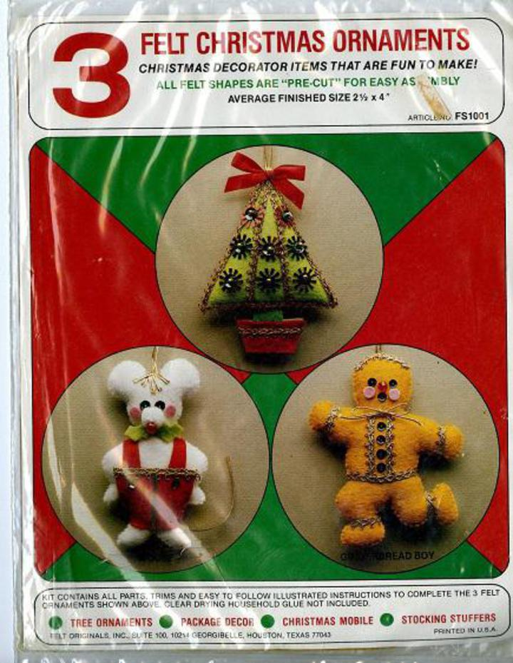 Vintage Pattern Warehouse, vintage sewing patterns, vintage fashion, crafts, fashion - Felt Originals #FS1001 - 3 Felt Christmas Ornaments Kit, Christmas ...