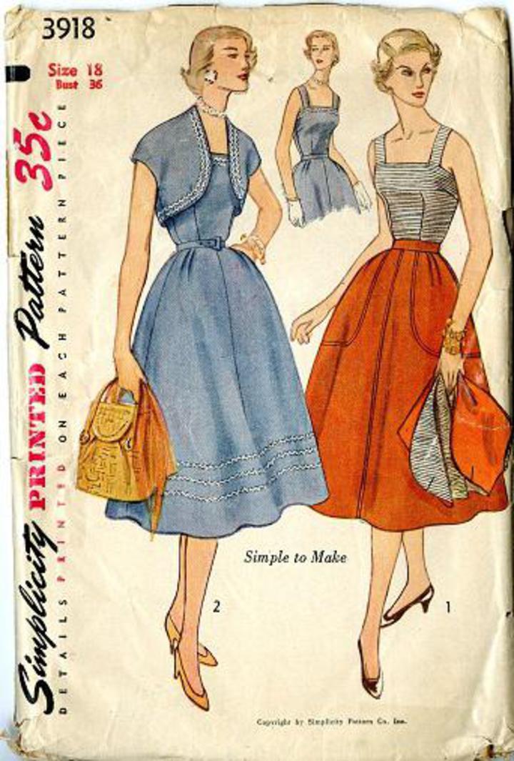 66eea009 Vintage Pattern Warehouse, vintage sewing patterns, vintage fashion,  crafts, fashion - 1952 Simplicity #3918 Vintage Pattern, Misses' Fitted  Bodice, ...