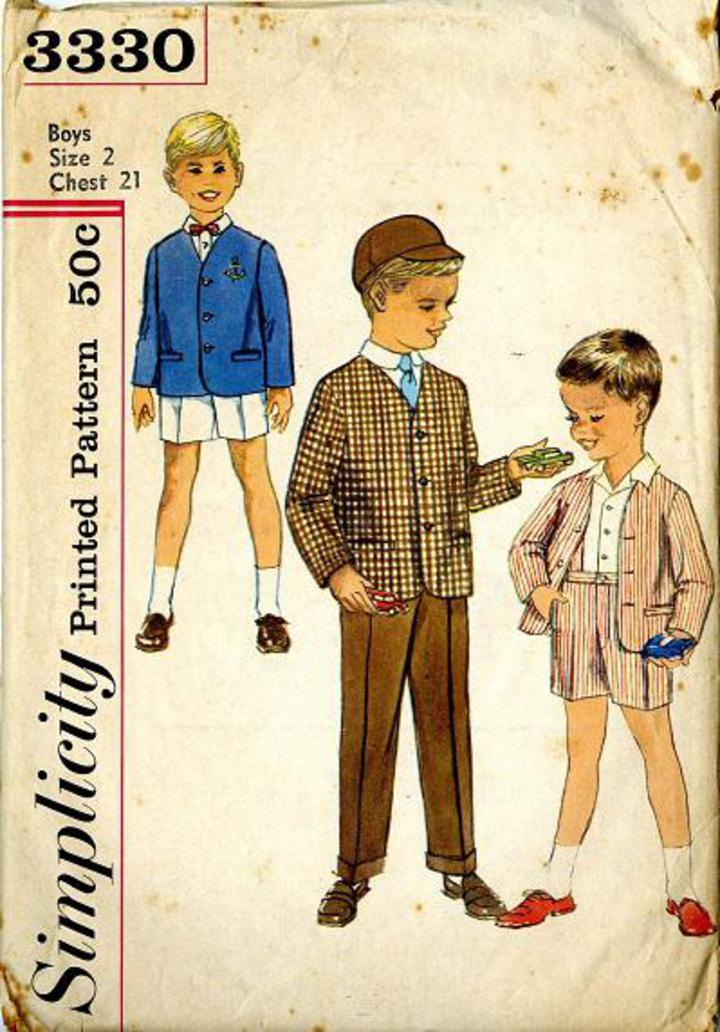 031cf62b5f168 1960 Simplicity #3330 Vintage Sewing Pattern, Boy's Jacket and Pants in Two  Lengths, Shorts Size 2