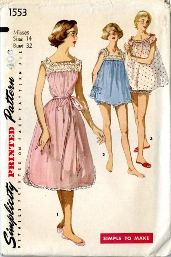 1311d63e3f79a 1956 Simplicity #1553 Vintage Sewing Pattern, Misses' Shortie Nightgown and  Panties, Babydoll Nightie or Calf Length Size 14