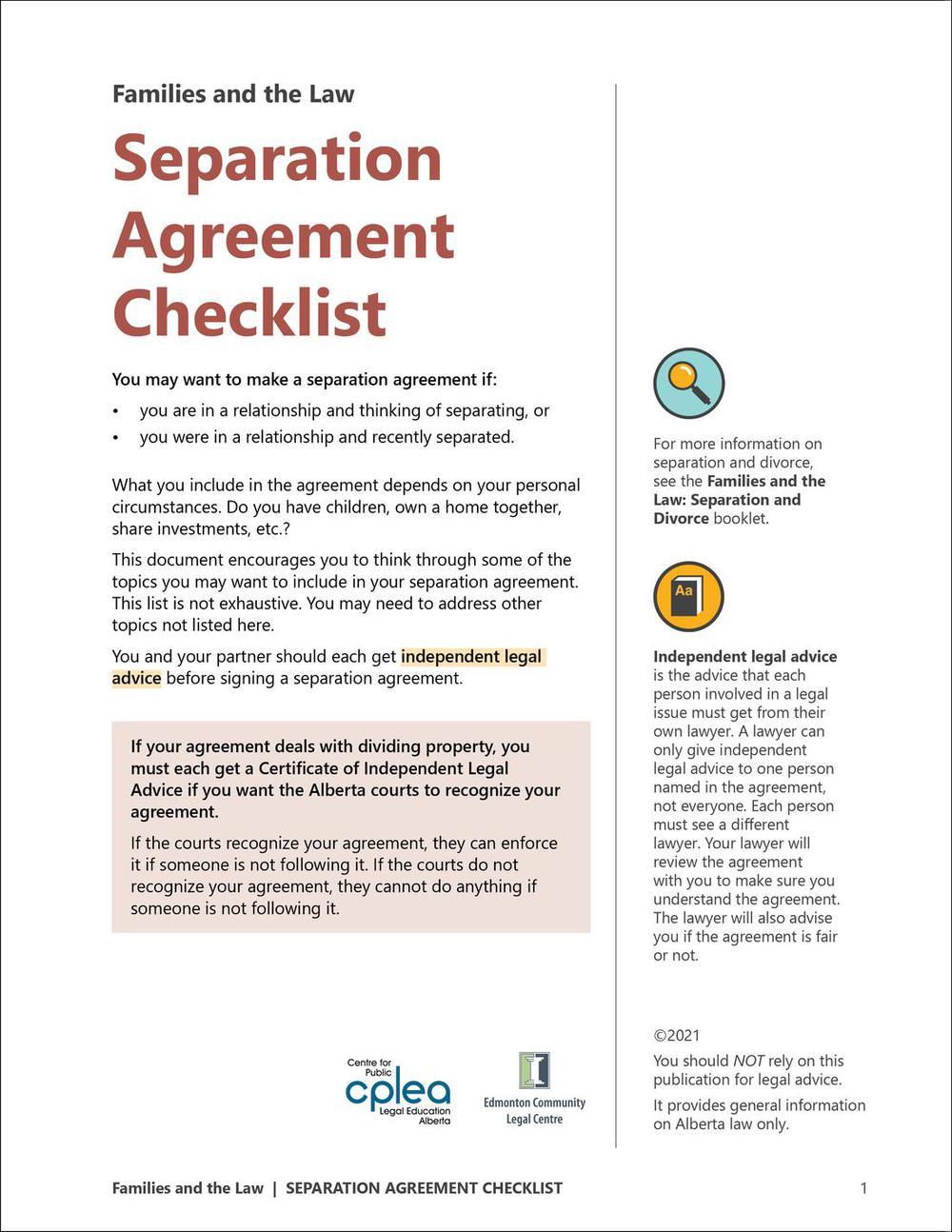 Separation agreement checklist altavistaventures Images