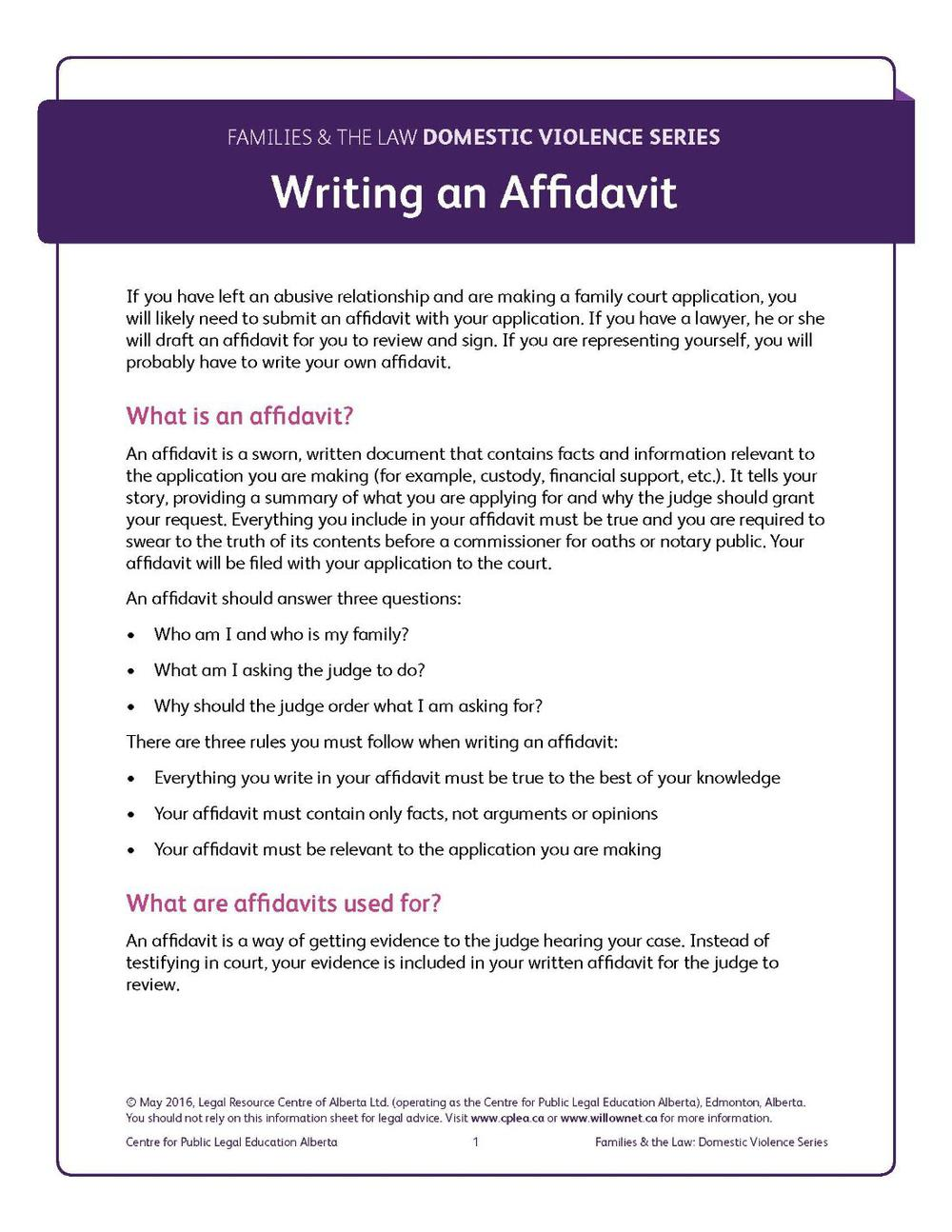 Writing an Affidavit - BOOKLET