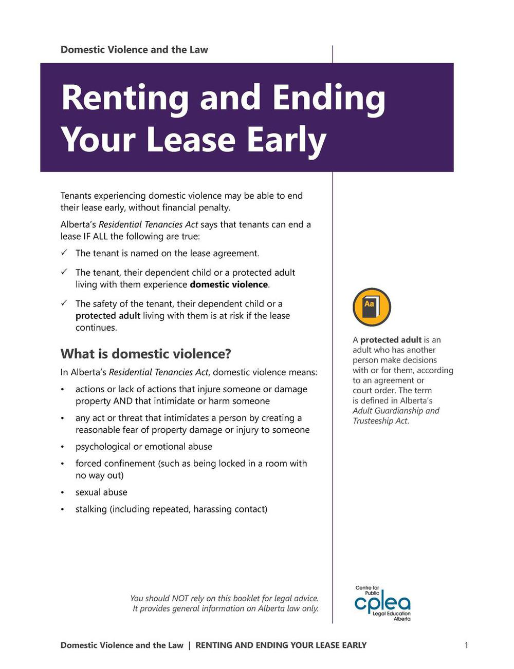 Renting And Domestic Violence Booklet